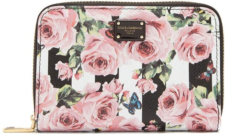 Dolce & Gabbana Rose and stripe-print compact leather wallet