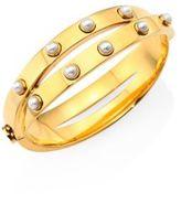 Tory Burch Faux Pearl & Metal Double-Wrap Bracelet