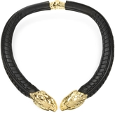 Roberto Cavalli Serpent Black Leather and Gold Tone Metal Necklace