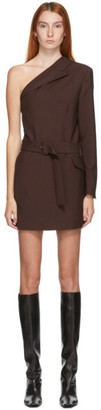 MSGM Brown Single Shoulder Blazer Dress