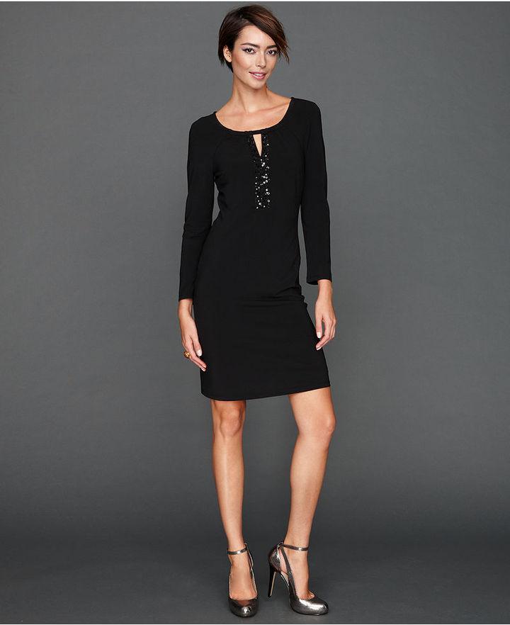 INC International Concepts Dress, Long-Sleeve Sequin Keyhole