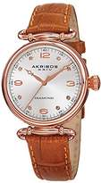 Akribos XXIV Women's AK878BR Round Rose Gold Dial Three Hand Quartz Brown Leather Strap Watch