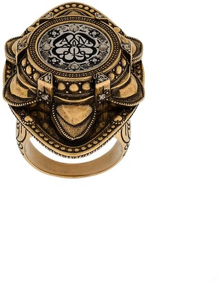 Alexander McQueen oversized engraved ring