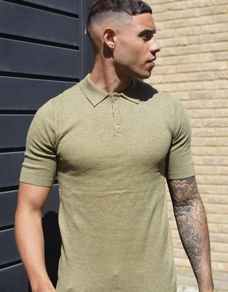 ASOS DESIGN knitted muscle fit linen look polo in khaki