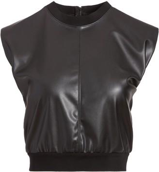 Alice + Olivia Kendrick Vegan Leather Crop Top