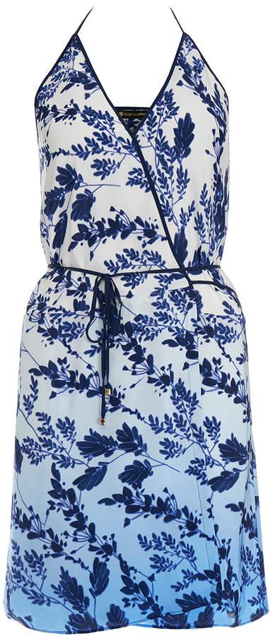 Vix Doris Marin Blue Printed Mini Dress