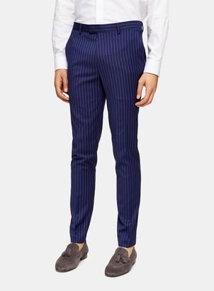 Topman Navy Super Skinny Fit Pinstripe Suit Trousers