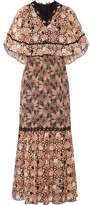 Anna Sui Embellished Printed Silk-chiffon And Cotton-blend Voile Maxi Dress - Pink