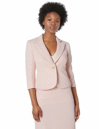 Kasper Women's Petite ONE Button Notch Collar Metallic DOT Jacquard Jacket