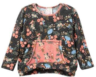Pink Vanilla Floral Dolman Kangaroo Pocket Knit Shirt (Toddler, Little Girls & Big Girls)
