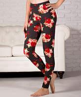 Ultrasoft Contagious Women's Leggings Style - Black & Gray Plaid Floral Leggings - Plus