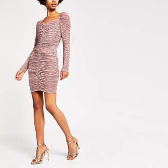 River Island Womens Dark Pink long sleeve ruched bodycon dress