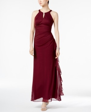 Betsy & Adam B & A by Ruched Halter Gown