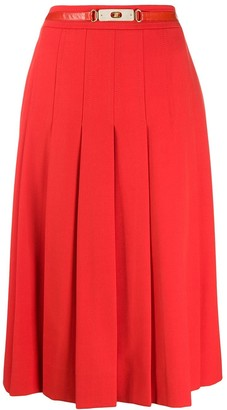 Celine Pre-Owned 1970s pleated belted skirt