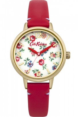 Cath Kidston Ladies Linen Sprig Red Leather Strap Watch CKL006RG