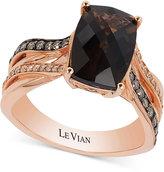 LeVian Le Vian® Chocolatier Smoky Quartz (3 ct. t.w.) and Diamond (1/4 ct. t.w.) Ring in 14k Rose Gold