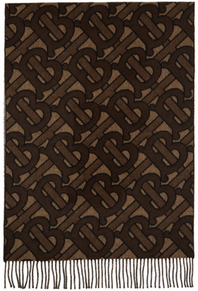 Burberry Brown Cashmere Monogram Scarf