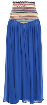 Missoni Mare Mare Crochet Knit-paneled Silk-blend Georgette Maxi Skirt