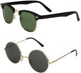 Mechaly Set of 2 Pairs - Classic Clubmaster Style Sunglasses (, 48)