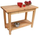 John Boos C03-D-S 60x24 Country Maple Work Table with Drawer, Shelf and J. A. Henckels 13-piece Knife Set