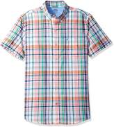 Izod Men's Saltwater Dockside Chambray Solid Short Sleeves Shirt