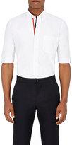 Thom Browne Men's Grosgrain-Trimmed Oxford Cloth Short-Sleeve Shirt-WHITE