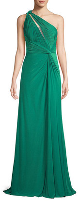 Rene Ruiz Collection Draped One-Shoulder Gown