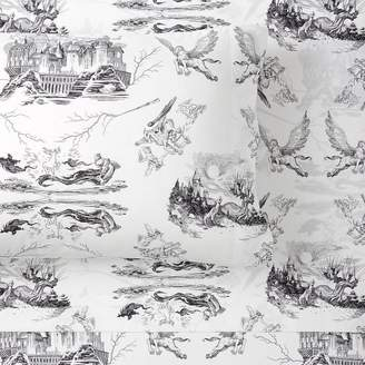 Pottery Barn Teen HARRY POTTER Etched Scenes Sheet Set, Twin/Twin XL, Ivory/Black