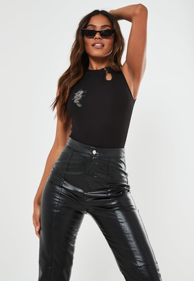 Missguided Black Keyhole Embroidered Dragon Bodysuit