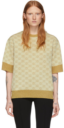 Gucci Beige and Gold Wool Lurex GG Sweater
