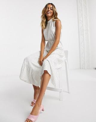 Miss Selfridge high neck midi dress in white and lemon spot