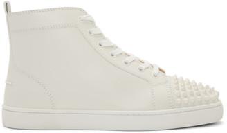 Christian Louboutin White Lou Spikes High-Top Sneakers