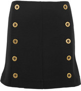 Chloé Embellished Wool-piqué Mini Skirt - Black