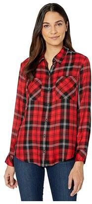 Sanctuary New Generation Boyfriend Shirt (Mineral Plaid) Women's Clothing