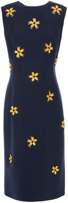 Oscar de la Renta Embellished Embroidered Tulle And Wool-blend Crepe Dress