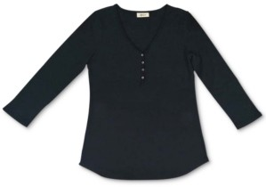 Style&Co. Style & Co Waffle-Knit Henley Top, Created for Macy's