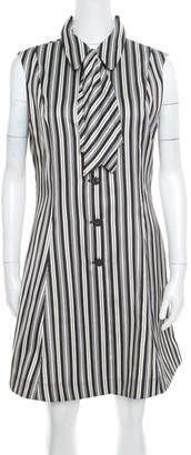 McQ Monochrome Striped Detachable Neck Tie Detail Sheath Dress L