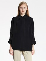 CK Calvin Klein Heavy Silk Georgette 3/4 Sleeve Top