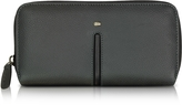 Giorgio Fedon Web Black Leather and Nylon Zip Around Women's Wallet