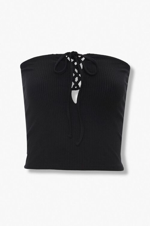 Forever 21 Ribbed Lace-Up Tube Top