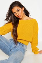 boohoo Natalie Crop Slash Neck Fisherman Jumper