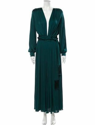 Oscar de la Renta Plunge Neckline Long Dress Green