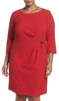 Tahari Buckle Detail Three-Quarter Sleeve Sheath Dress (Plus Size)