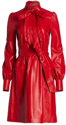 Marc Jacobs The Leatherette Long-Sleeve Collared Dress
