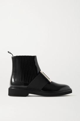 Roger Vivier Viv Ranger Embellished Patent-leather Chelsea Boots - Black