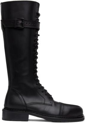 Ann Demeulemeester Black High Combat Boots