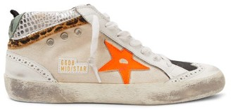 Golden Goose Mid Star Canvas And Leather Trainers - Womens - White Black
