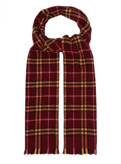 Burberry Vintage Check Cashmere Scarf - Womens - Burgundy