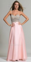 Dave and Johnny Radial Beaded Chiffon A-line Prom Dress