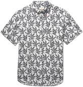 Club Monaco Button-Down Collar Printed Linen Shirt